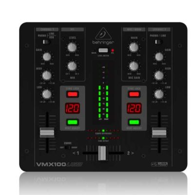 BEHRINGERVMX100USBPRO MIXERProfessional 2-Channel DJ Mixer with USB/Audio Interface, BPM Counter and VCA Control BEHRINGER VMX100USB เครื่องผสมสัญญาณเสียงสำหรับดีเจ 7 ชาแนลBEHRINGER VMX 100USB มิกเซอร์ ดีเจBEHRINGER VMX 100USB mixer DJ