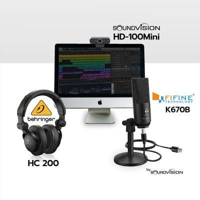 ชุดไมค์ USB บันทึกเสียง FIFINE K670B หูฟัง HC 200 และ กล้อง HD-100Mini